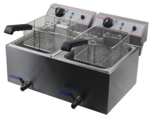 Counter Top Electric Fryer Twin Tank 17 17 Litre with Taps